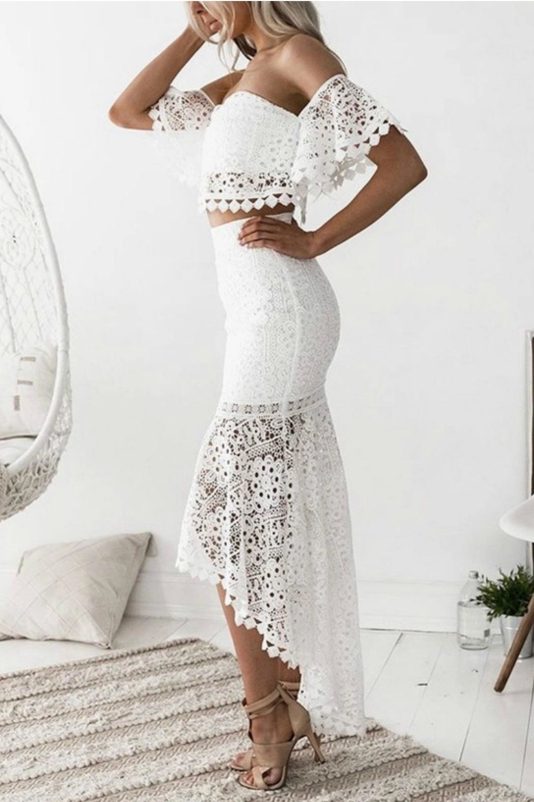 Esley Collection Two-Piece Lace Dress - Front Full Image