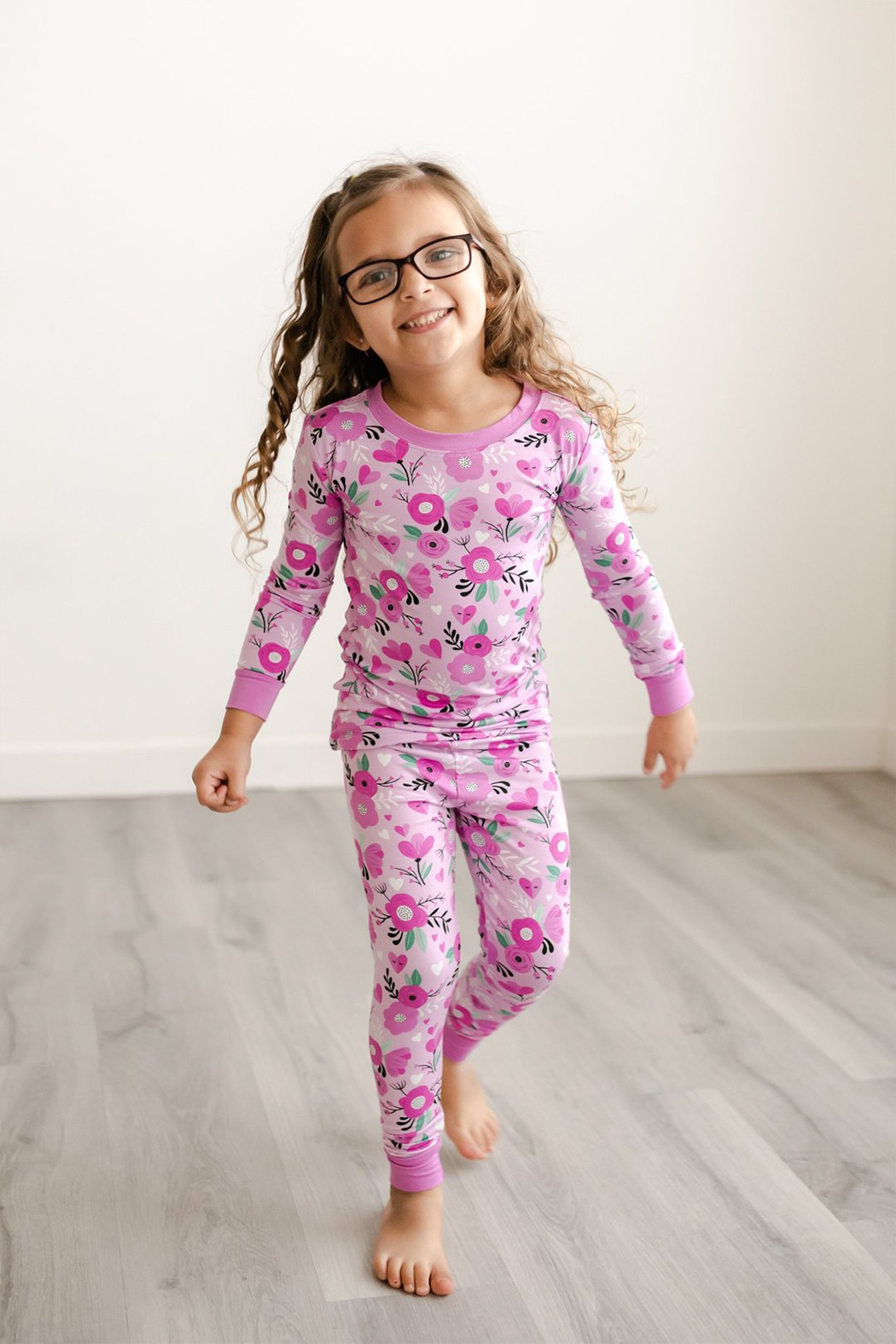Little Sleepies Two-Piece Pajama Set - Sweetheart Floral - Front Full Image