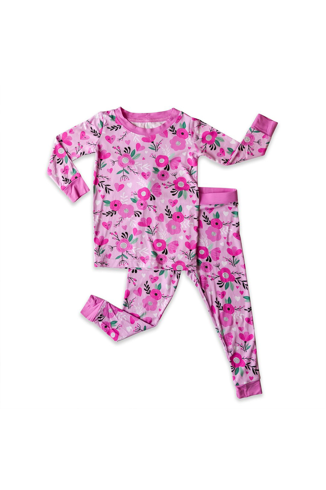 Little Sleepies Two-Piece Pajama Set - Sweetheart Floral - Back Cropped Image