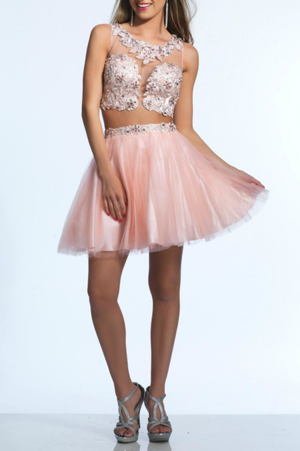 DAVE & JOHNNY Two-Piece Tulle Dress - Main Image
