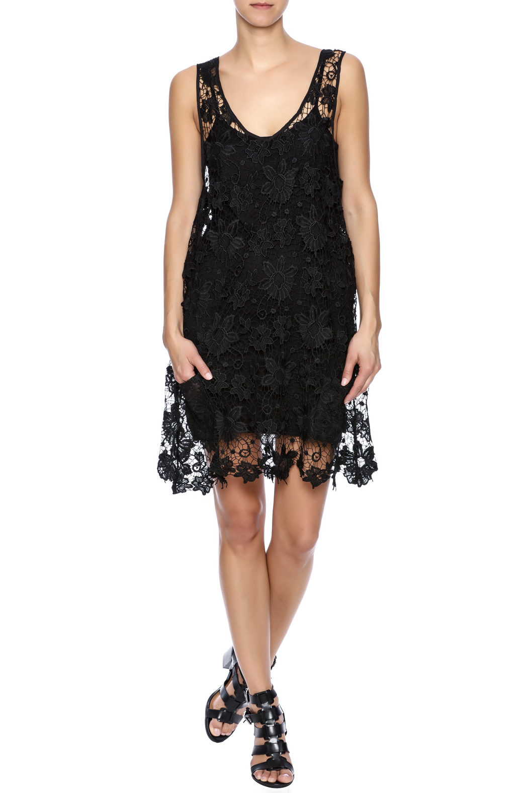 Two's Company Black Lace Dress - Front Full Image