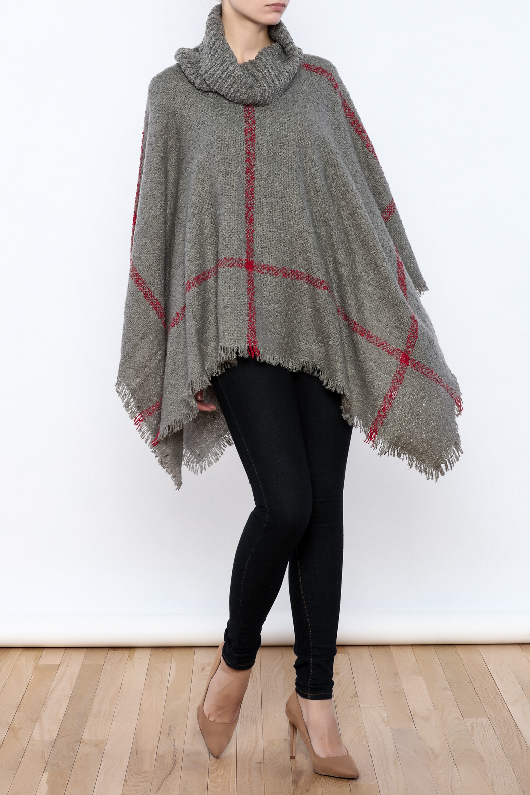 Two's Company Cowl Neck Poncho - Front Full Image