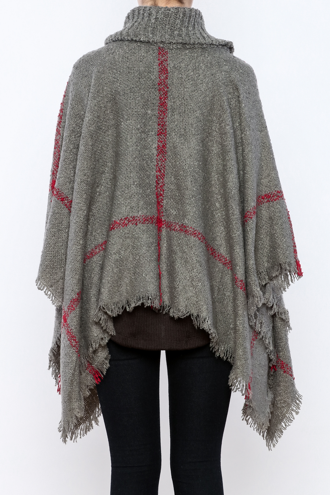 Two's Company Cowl Neck Poncho - Back Cropped Image