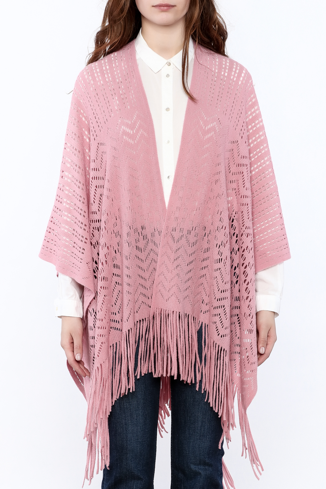 Two's Company Fringe Wrap Sweater - Side Cropped Image