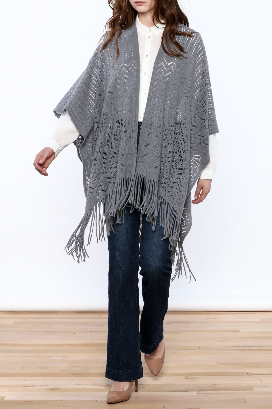 Two's Company Fringe Wrap Sweater - Front Full Image