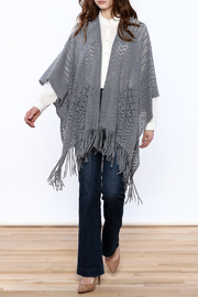 Two's Company Fringe Wrap Sweater - Front full body