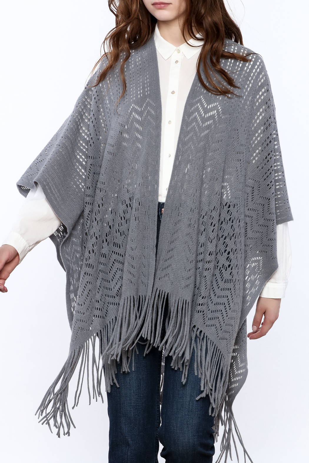 Two's Company Fringe Wrap Sweater - Front Cropped Image