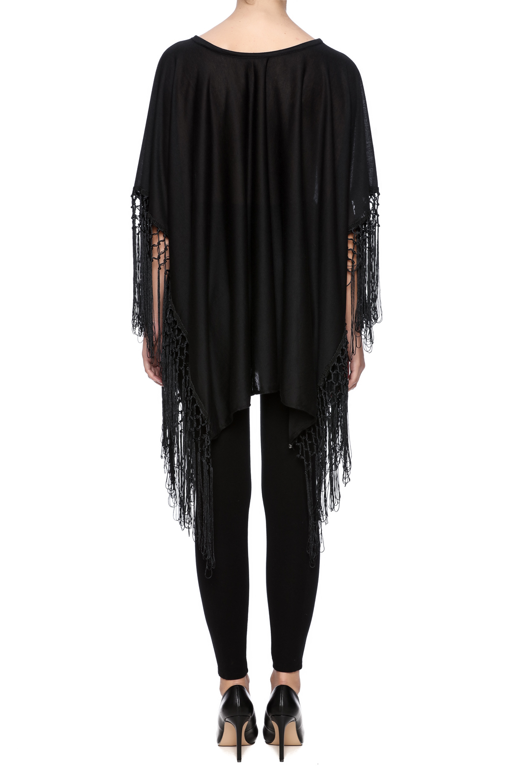Two's Company Fringed T-Shirt Poncho - Back Cropped Image