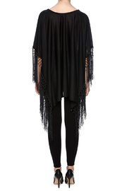 Two's Company Fringed T-Shirt Poncho - Back cropped