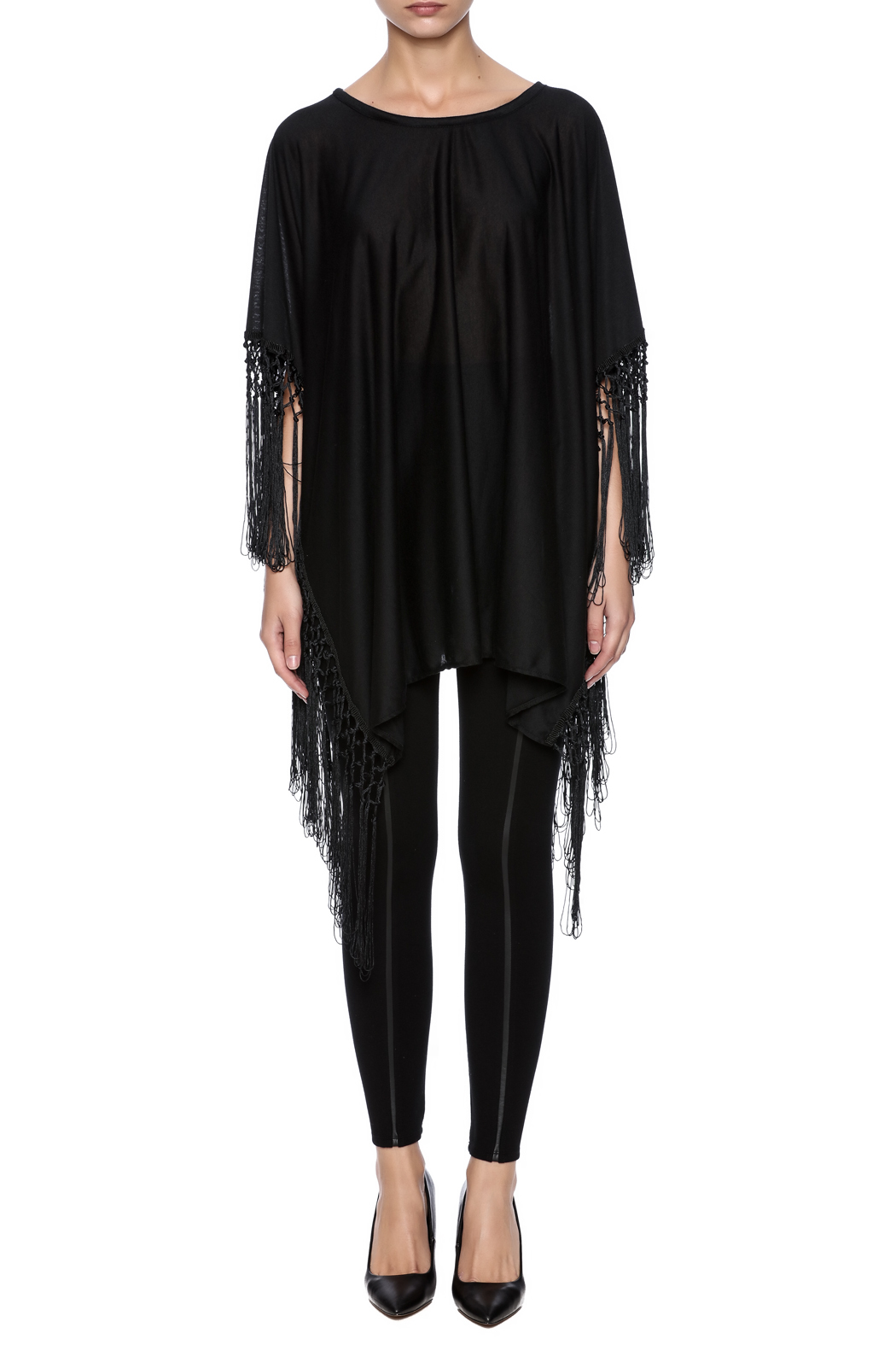 Two's Company Fringed T-Shirt Poncho - Front Cropped Image