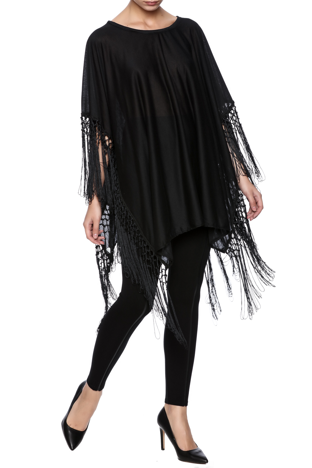 Two's Company Fringed T-Shirt Poncho - Main Image
