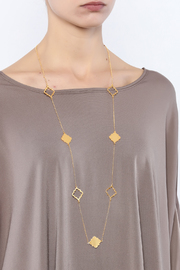 Two's Company Long Clover Necklace - Back cropped