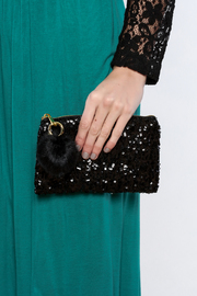 Two's Company Sequined Clutch - Back cropped