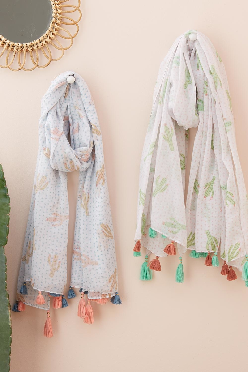 Two's Pastel Cactus Scarf - Front Full Image