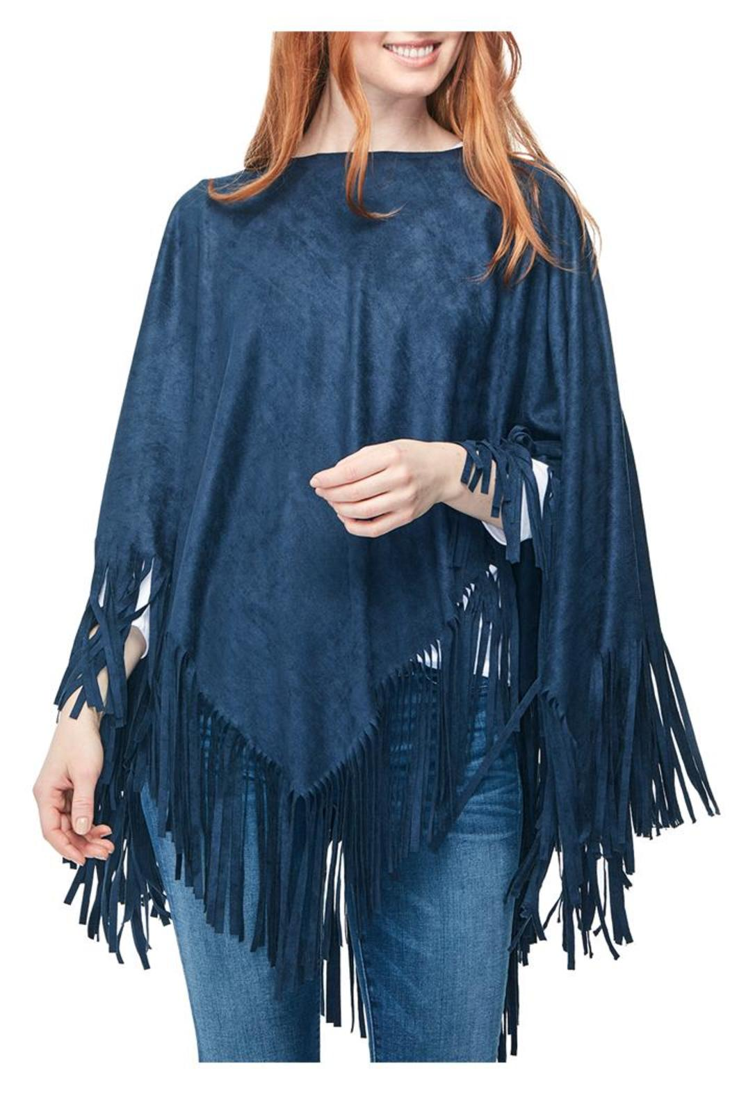 Two's Company Blue Suede Poncho - Main Image