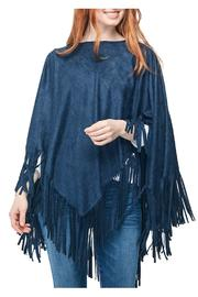 Two's Company Blue Suede Poncho - Product Mini Image