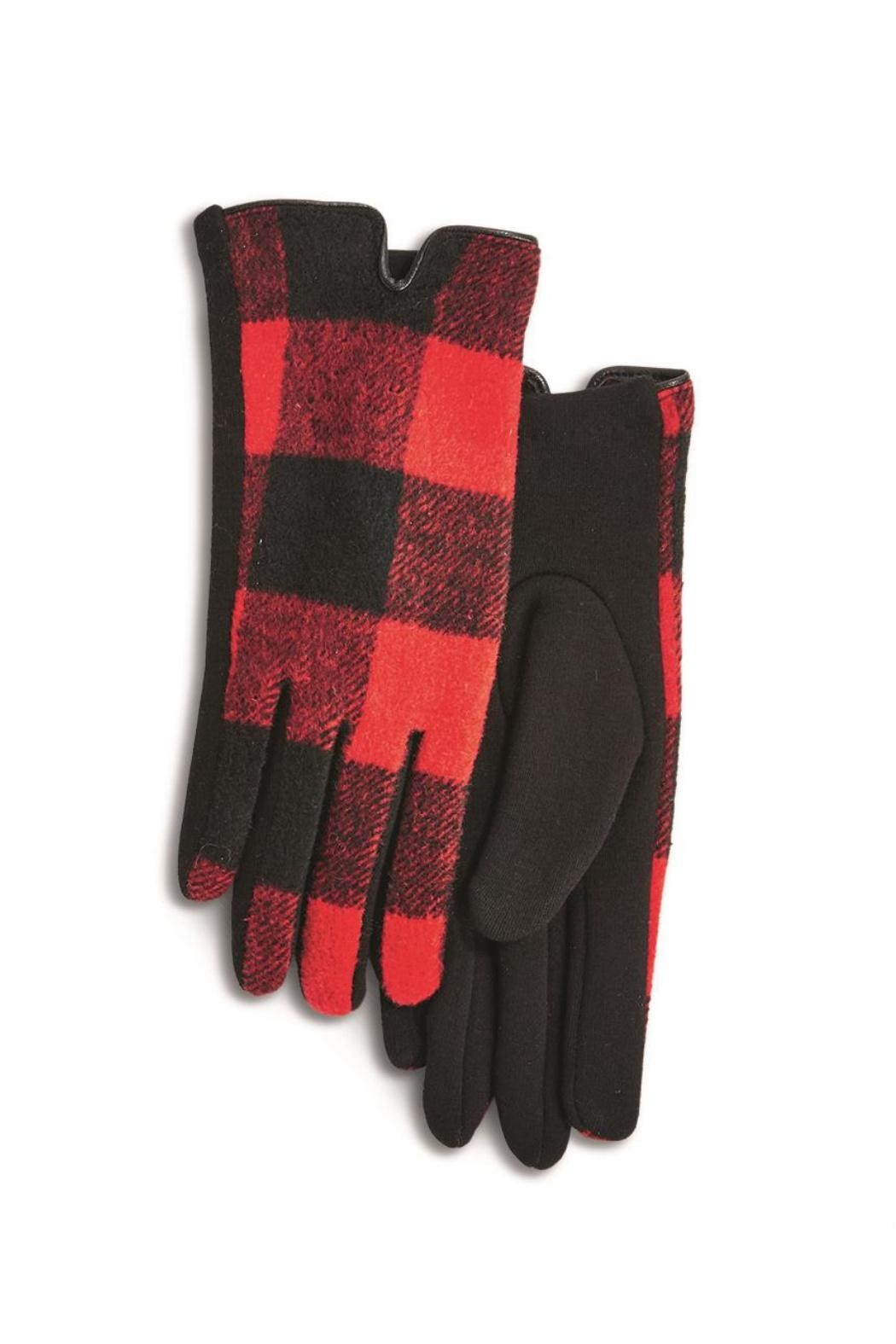 Two's Company Buffalo Plaid Gloves - Front Cropped Image
