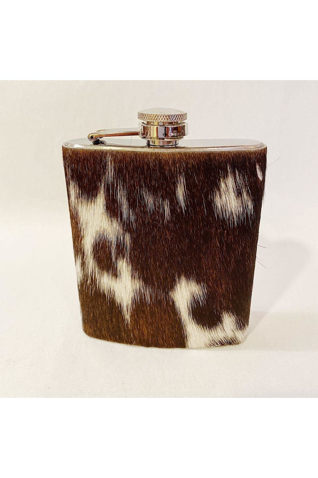 Two's Company Cowhide Flask - Front Cropped Image