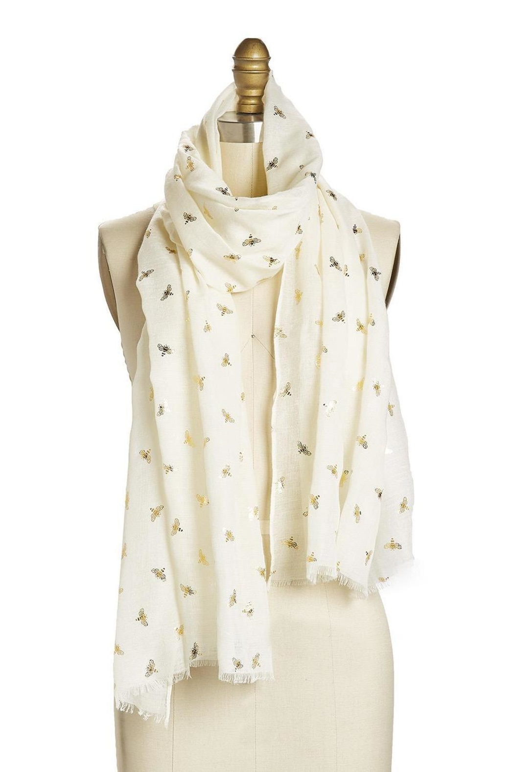 Two's Company Cream Bee Pattern Scarf - Main Image
