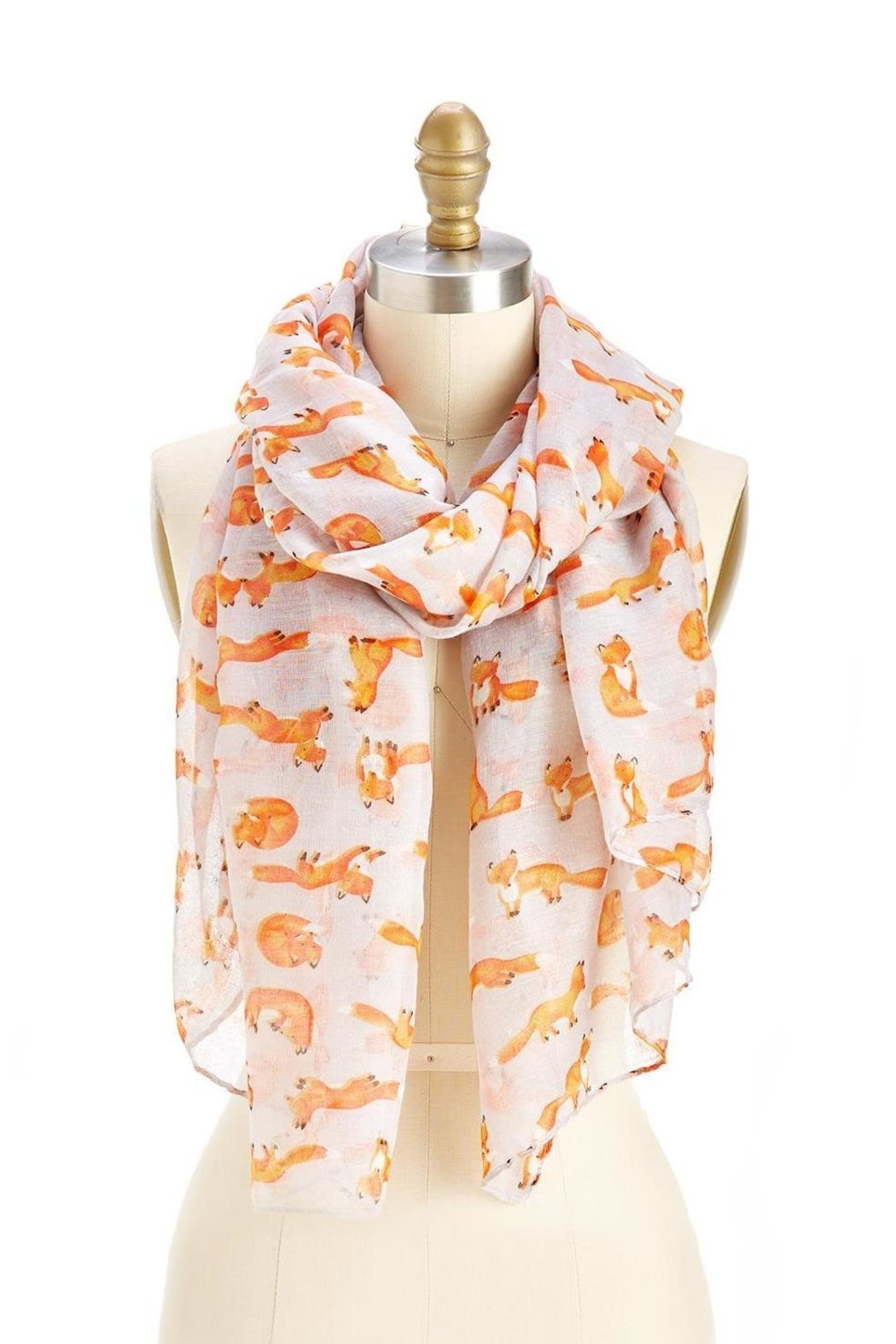 Two's Company Grey Fox Print Scarf - Main Image