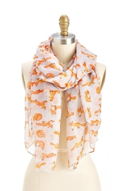 Two's Company Grey Fox Print Scarf - Front cropped