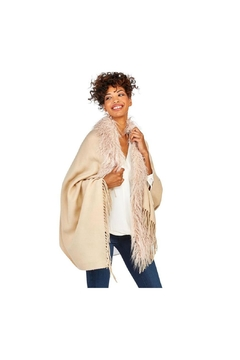 Shoptiques Product: Ivory Faux Ostrich Fur Trimmed Cape With Tassels