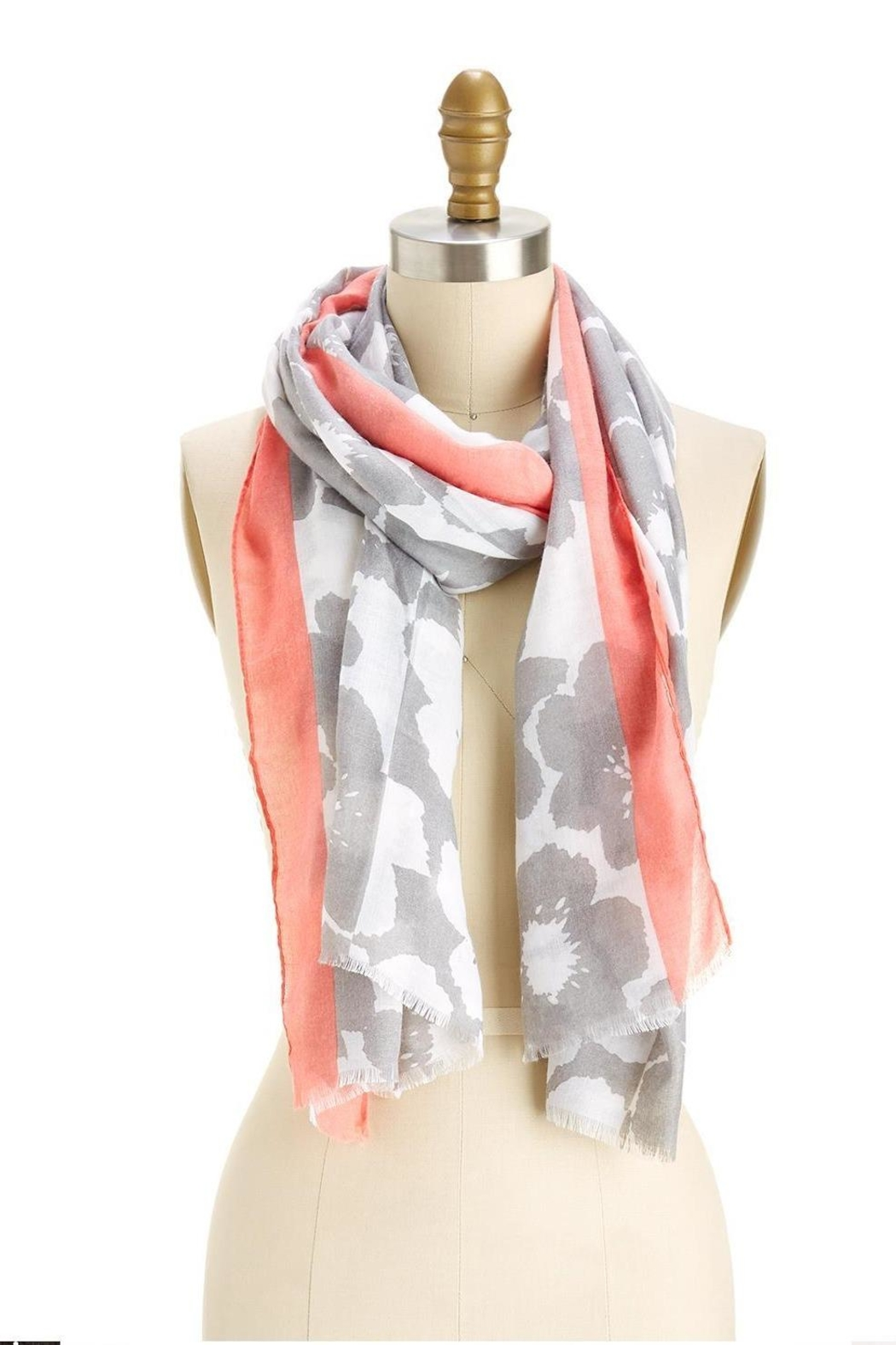 Two's Company Grey/pink Flower Print Scarf - Main Image