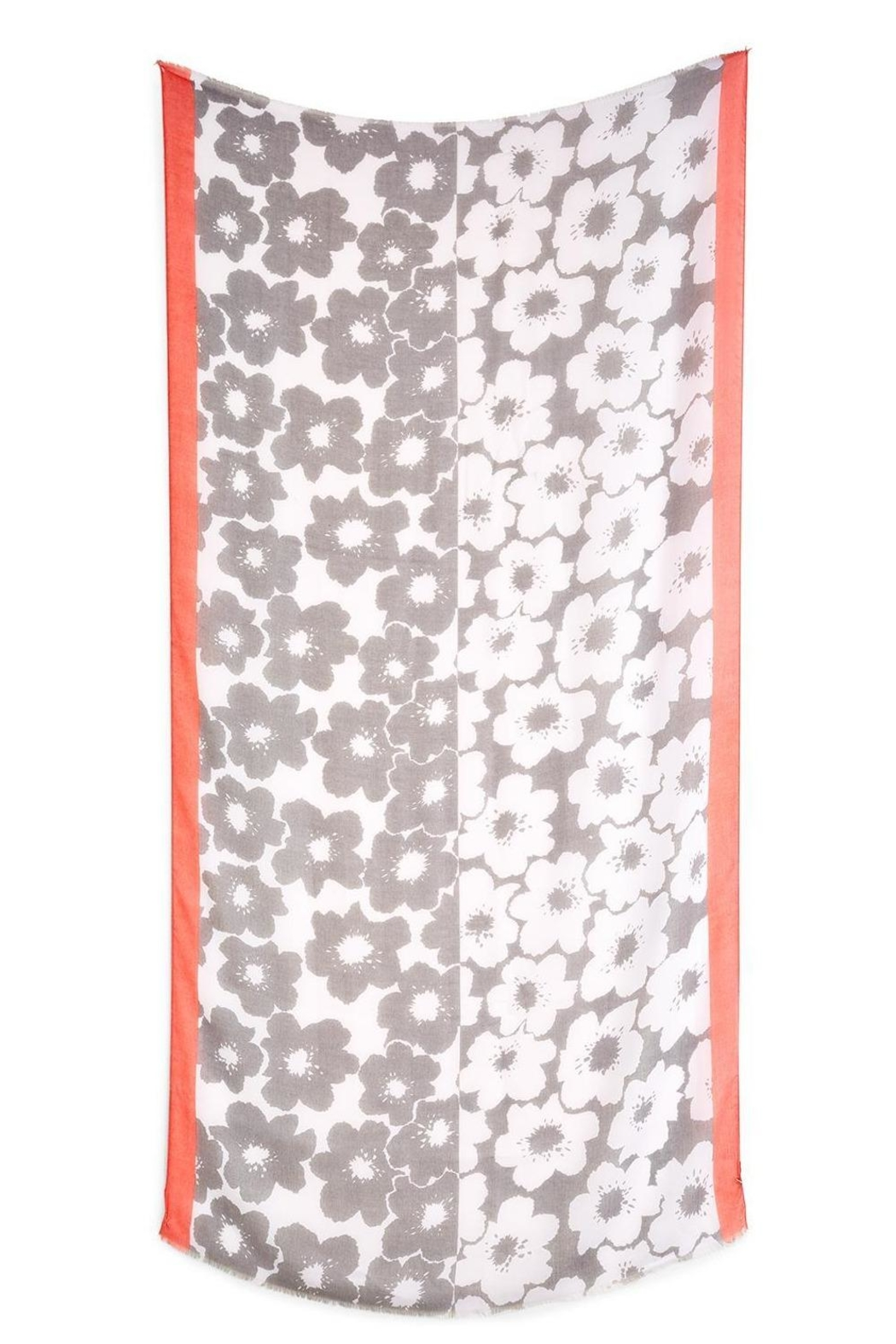 Two's Company Grey/pink Flower Print Scarf - Front Full Image