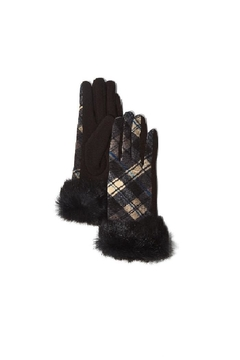 Two's Company Plaid Fur Gloves With Fur Trim - Alternate List Image