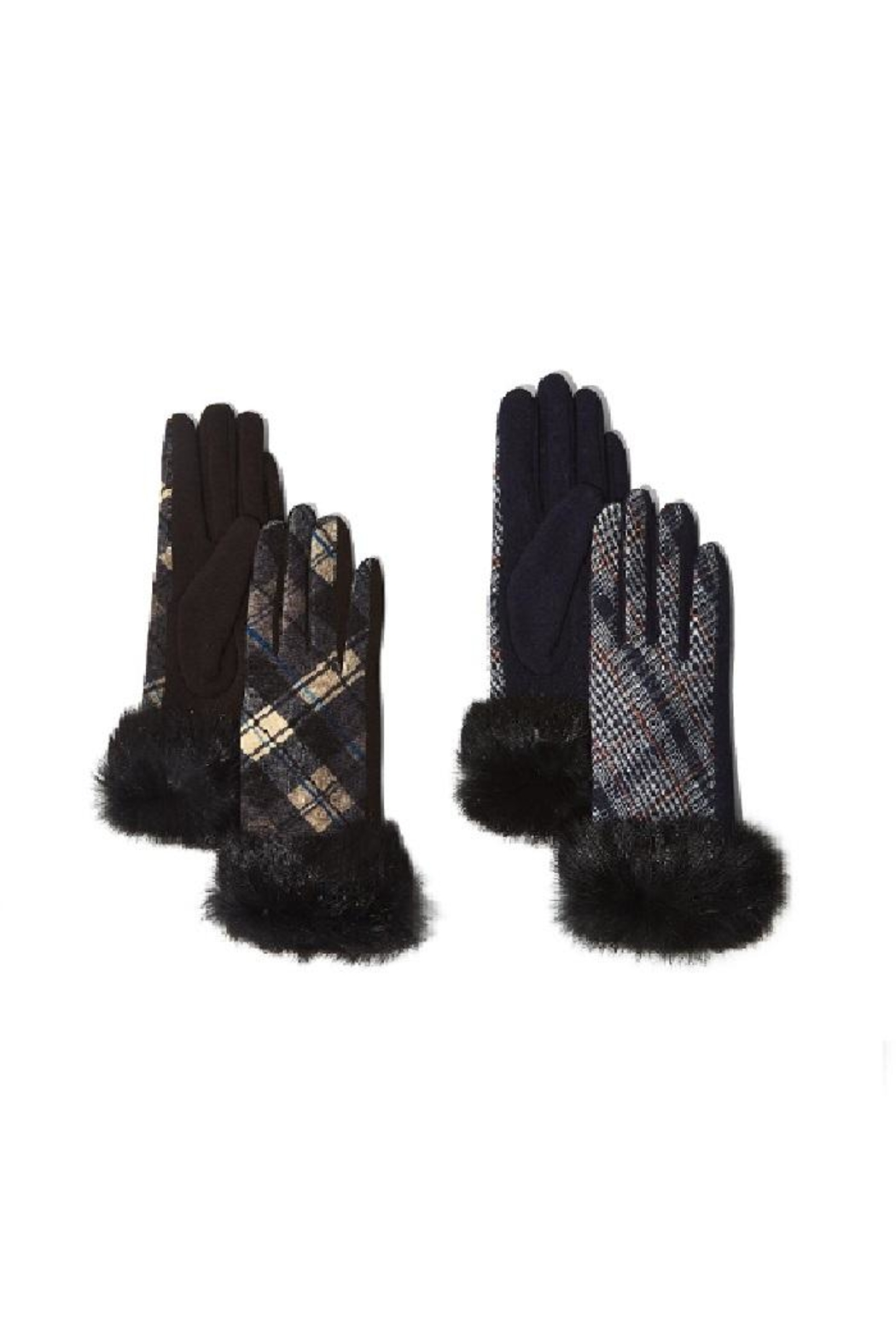 Two's Company Plaid Fur Gloves With Fur Trim - Front Cropped Image