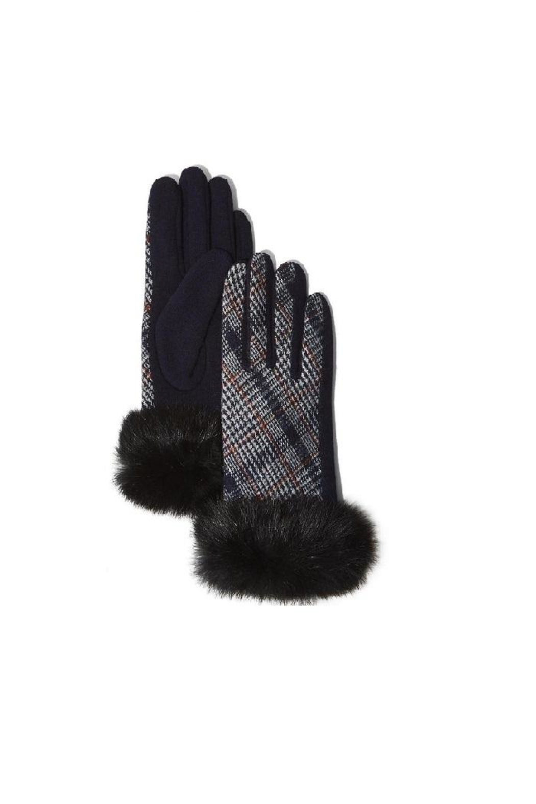 Two's Company Plaid Fur Gloves With Fur Trim - Front Full Image