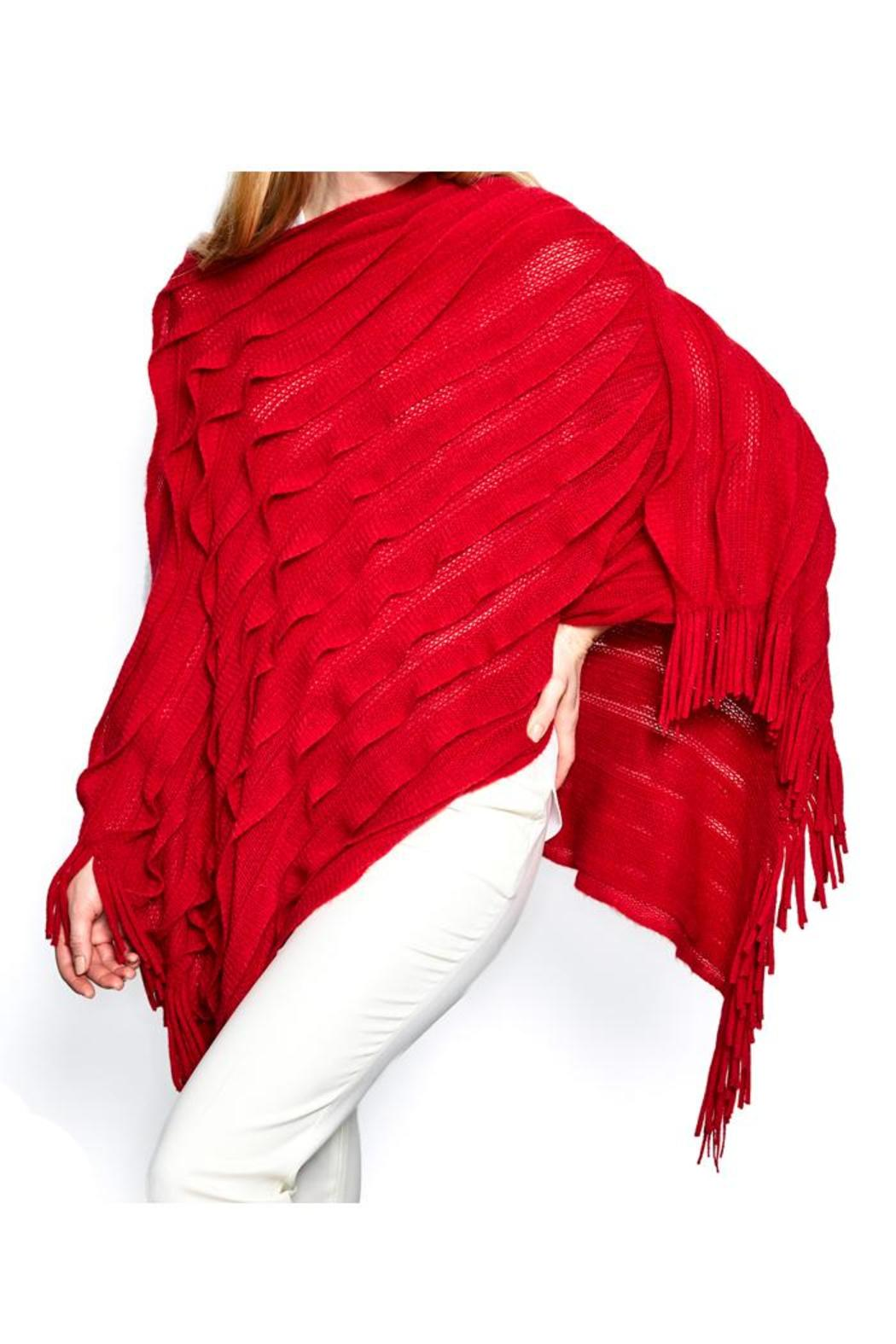 Two's Company Ruffle Infinity Poncho - Front Cropped Image