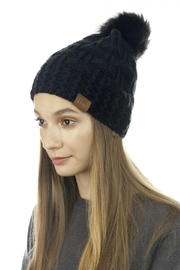 Cloie Two-Stitches Pom-Pom Beanie - Product Mini Image