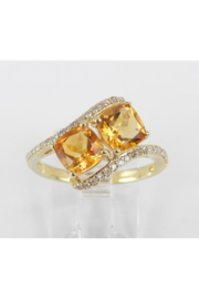 Margolin & Co Two Stone Cushion Cut Citrine and Diamond Promise Ring Yellow Gold Size 7 November Birthstone Gem FREE Sizing - Front cropped