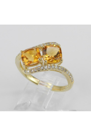 Margolin & Co Two Stone Cushion Cut Citrine and Diamond Promise Ring Yellow Gold Size 7 November Birthstone Gem FREE Sizing - Side cropped
