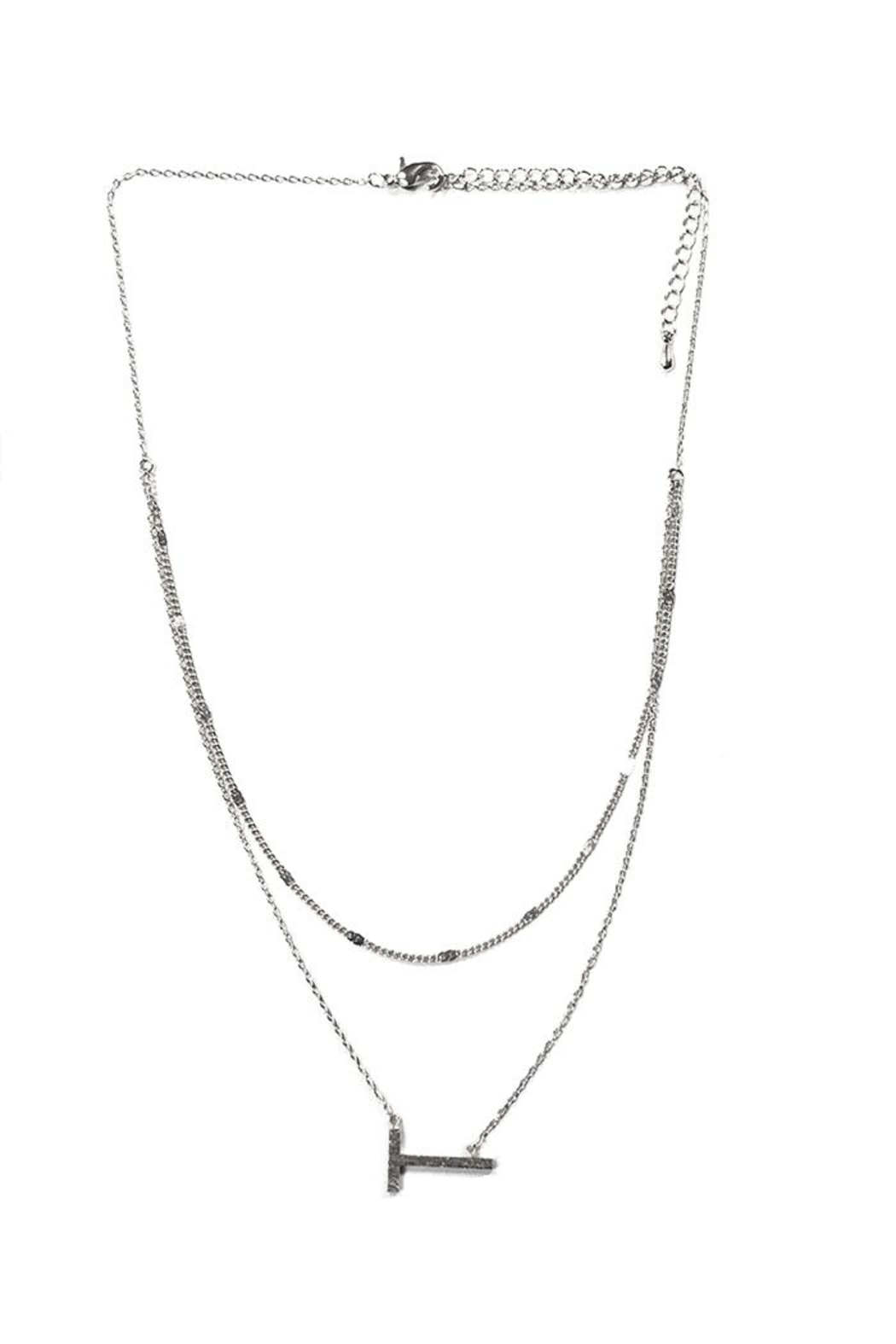 Lets Accessorize Two-Tier Sideways-Initial Necklace - Main Image