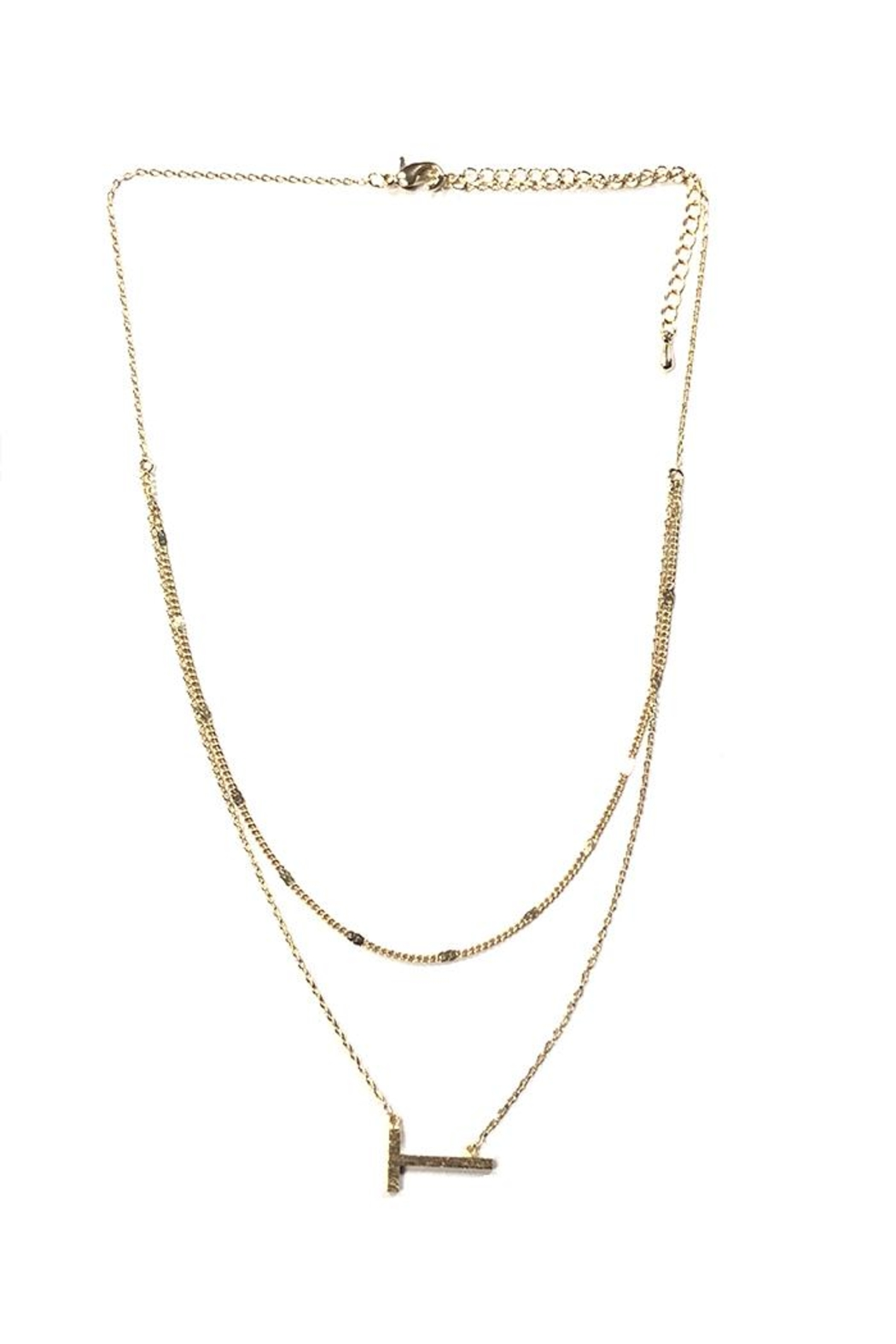 Lets Accessorize Two-Tier Sideways-Initial Necklace - Front Cropped Image