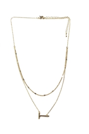 Lets Accessorize Two-Tier Sideways-Initial Necklace - Front cropped