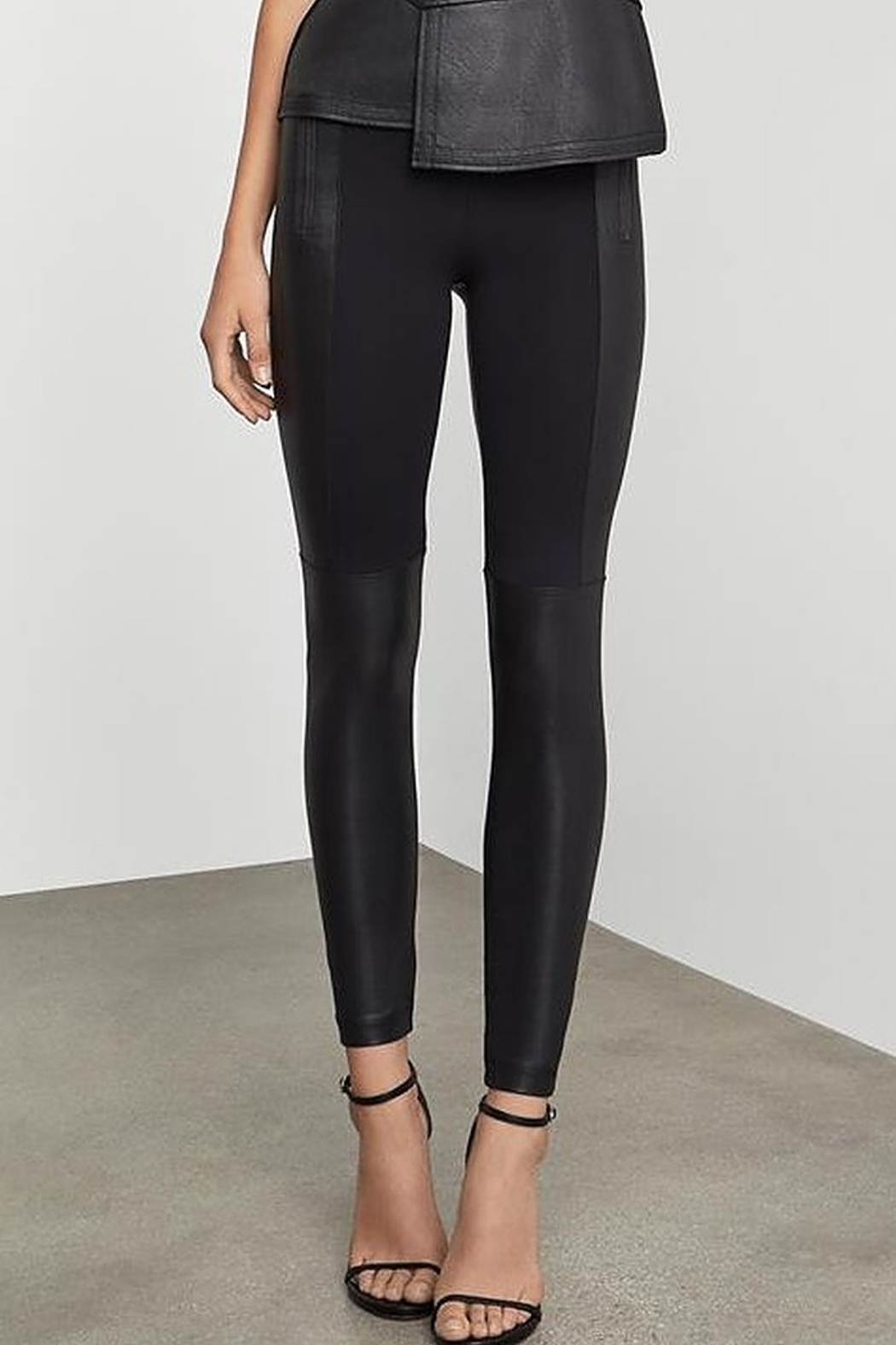 BCBG Max Azria Two Tone Coated Leggings - Side Cropped Image