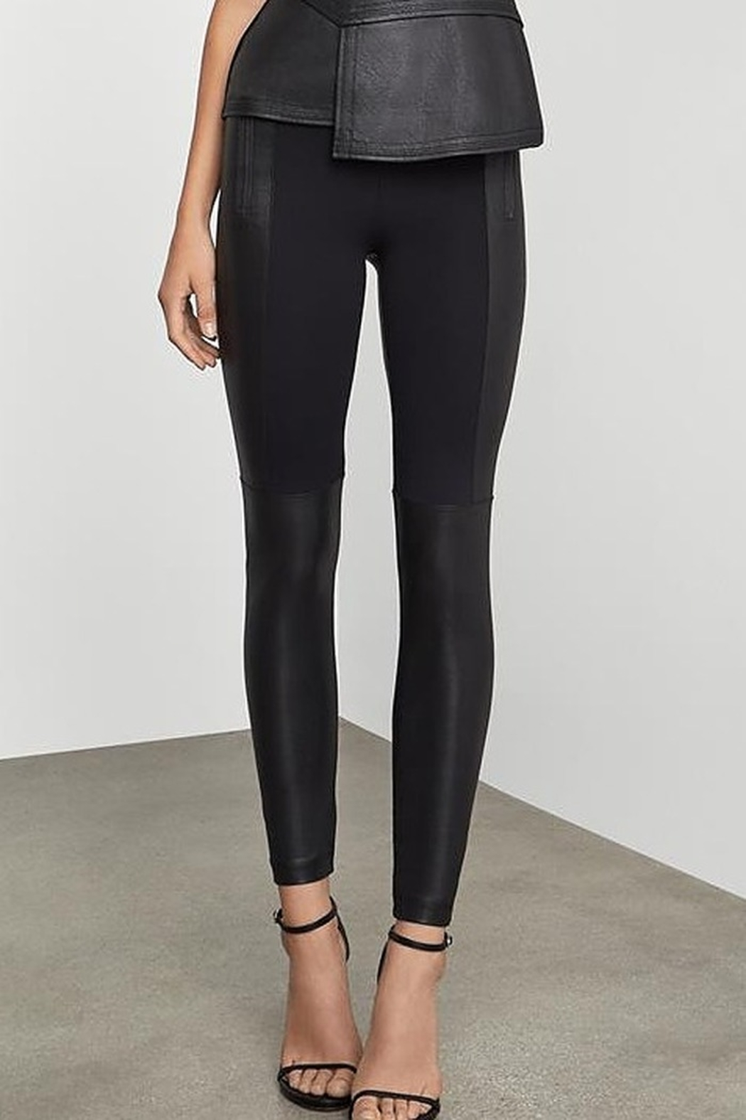 BCBG Max Azria Two Tone Coated Leggings - Front Cropped Image