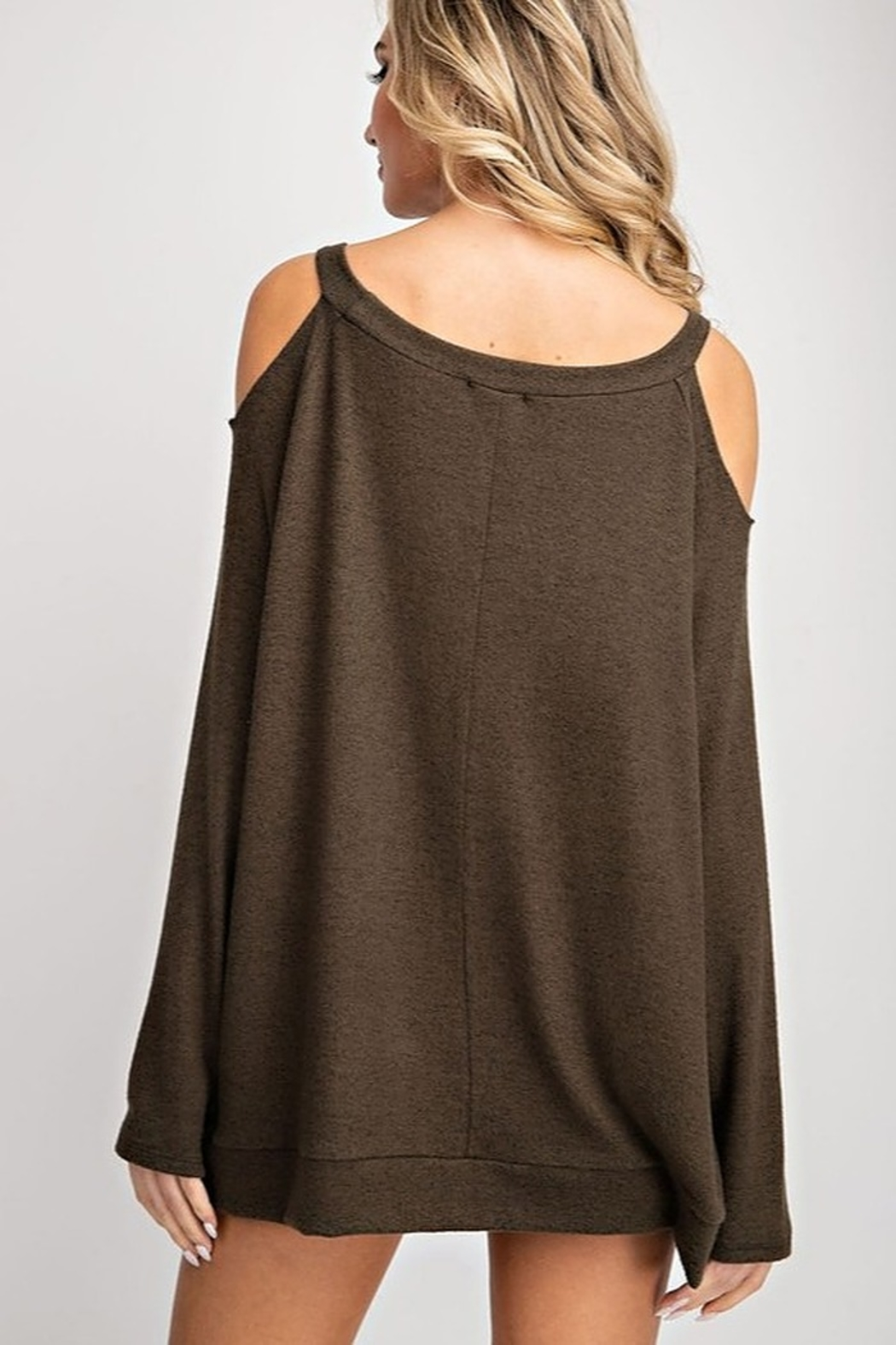 143 Story Two Tone Cold Shoulder Top - Side Cropped Image