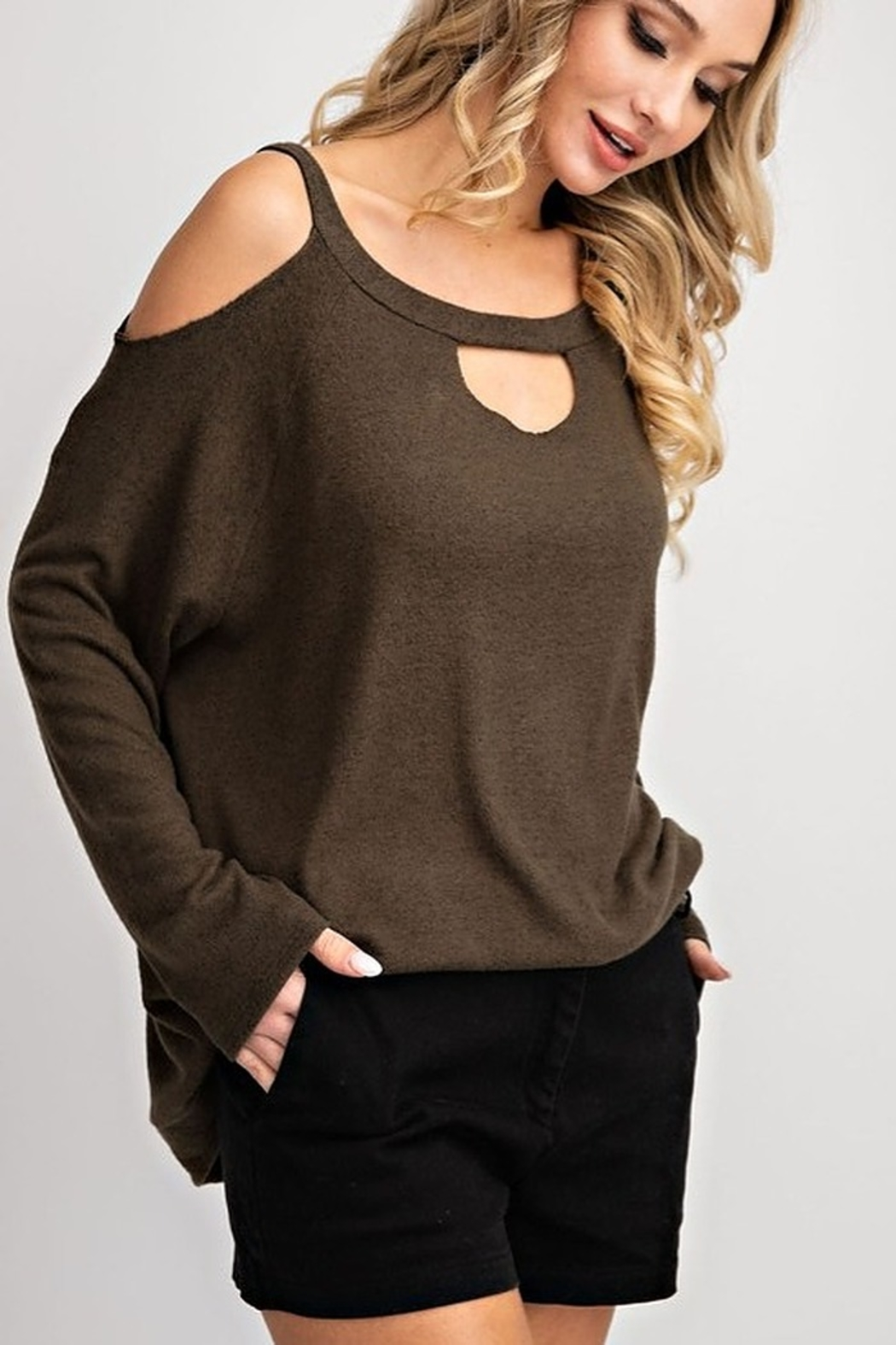 143 Story Two Tone Cold Shoulder Top - Main Image
