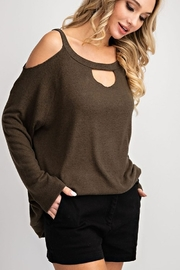 143 Story Two Tone Cold Shoulder Top - Product Mini Image