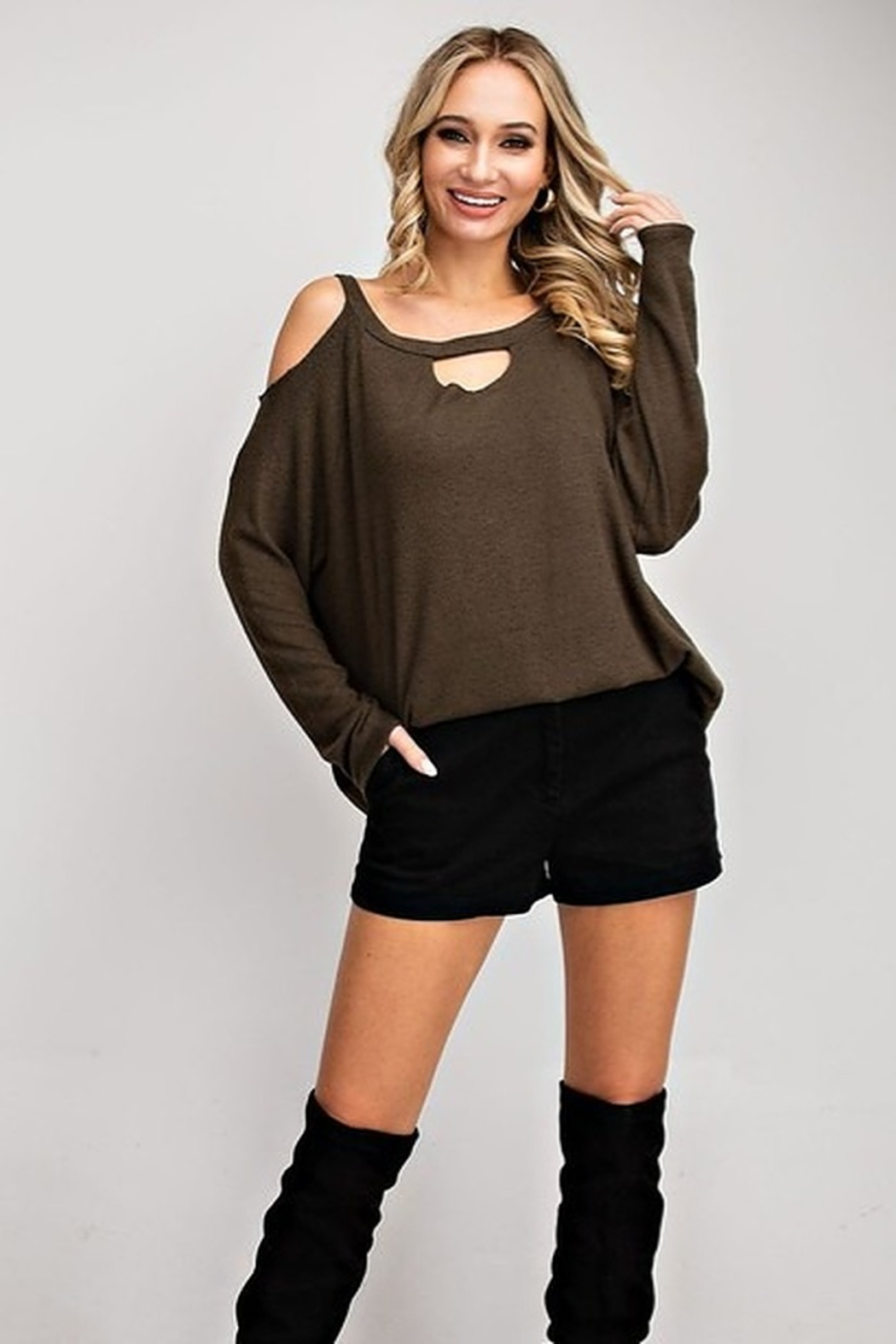 143 Story Two Tone Cold Shoulder Top - Front Full Image