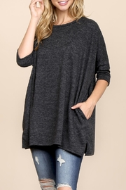 Riah Fashion Two-Tone-Hacci Oversized-Dropped-Shoulder Pocket-Tunic - Product Mini Image