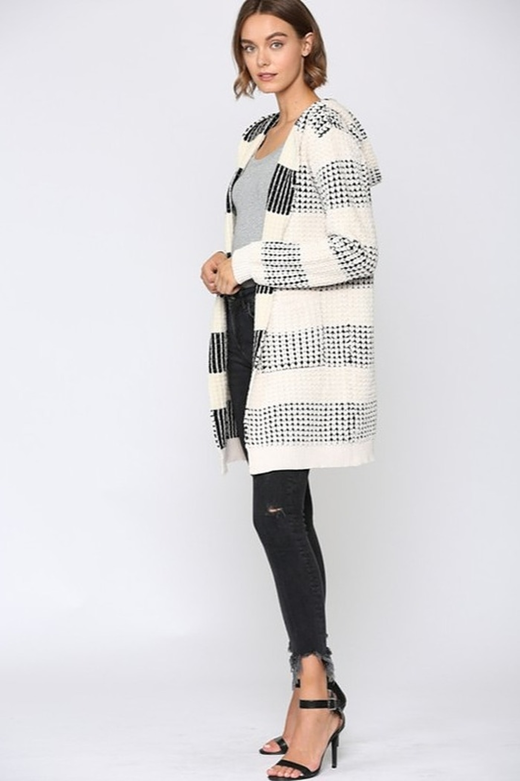 Fate Two Tone Hooded Cardigan - Front Full Image