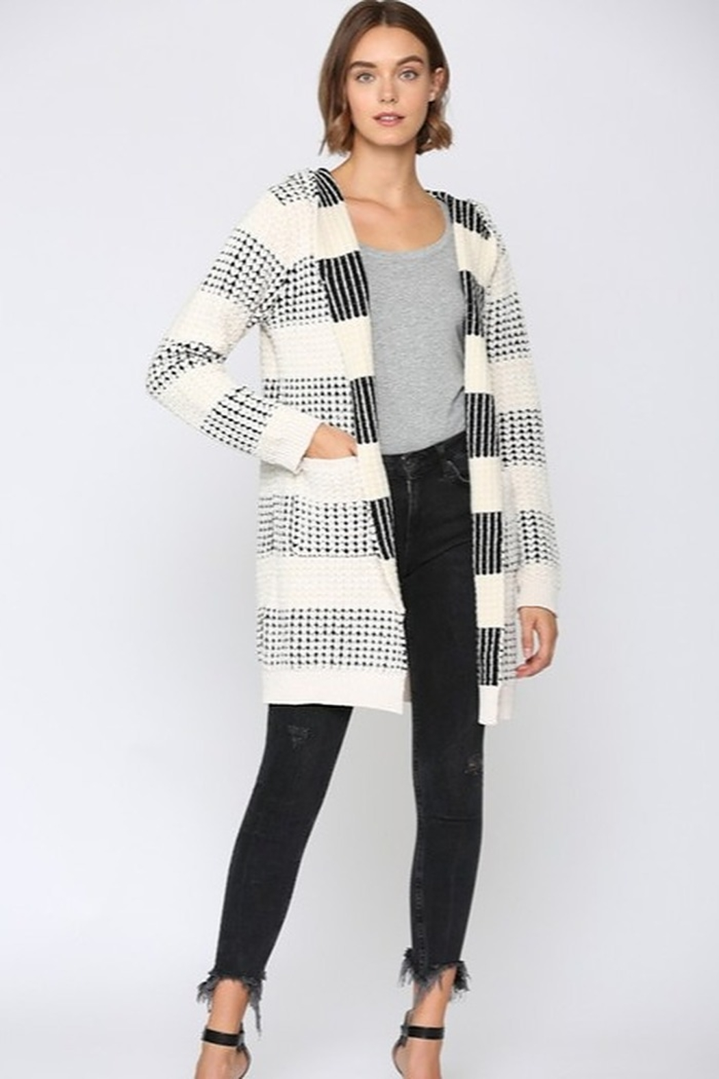 Fate Two Tone Hooded Cardigan - Side Cropped Image