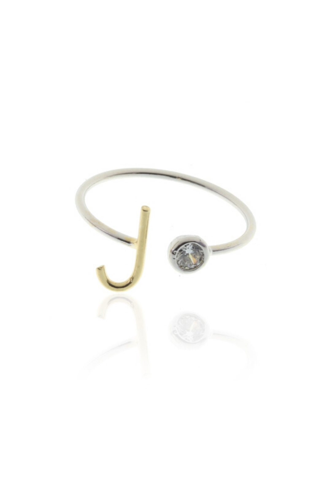 Cool & Interesting Two Tone Initial CZ Rings - Front Cropped Image