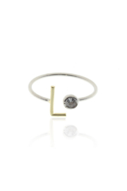 Cool and Interesting Two Tone Initial CZ Rings - Product Mini Image