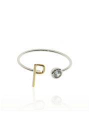 Cool & Interesting Two Tone Initial CZ Rings - Front cropped